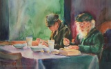 Watercolor Painting - Supper at Carine's